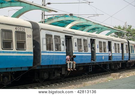 Commuters on Indian Train
