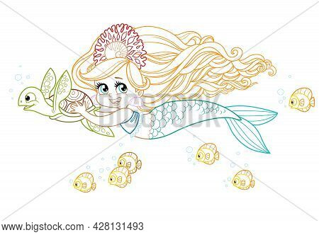 Cute Little Mermaid Girl In Coral Tiara Swims Forward Holding On To A Sea Turtle Colored Outlined Fo