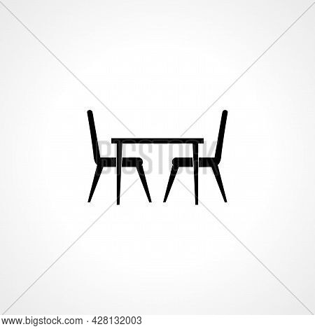Table With Chair Icon. Table With Chair Simple Vector Icon. Table With Chair Isolated Icon.