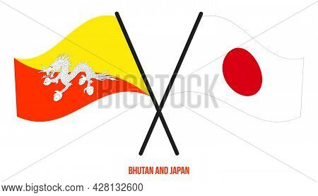 Bhutan And Japan Flags Crossed And Waving Flat Style. Official Proportion. Correct Colors.