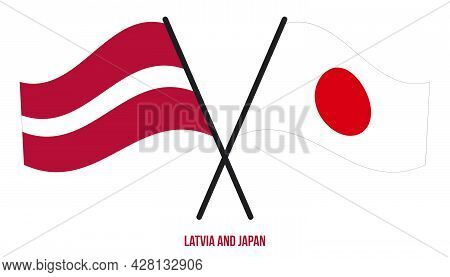 Latvia And Japan Flags Crossed And Waving Flat Style. Official Proportion. Correct Colors.