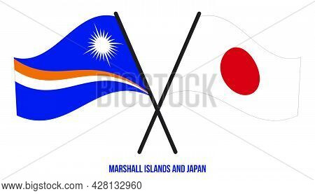 Marshall Islands And Japan Flags Crossed And Waving Flat Style. Official Proportion. Correct Colors.