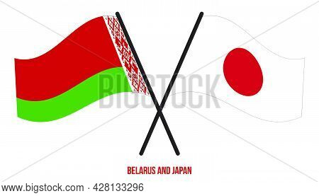 Belarus And Japan Flags Crossed And Waving Flat Style. Official Proportion. Correct Colors.