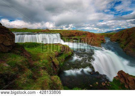 Reykjafoss Waterfall Located Near Varmahlid In Iceland