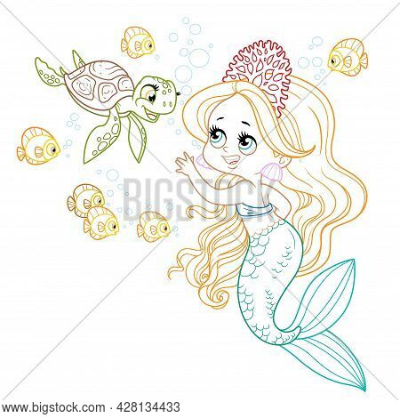 Cute Little Mermaid Girl In Coral Tiara Communicates With A Small Sea Turtle Colored Outlined For Co