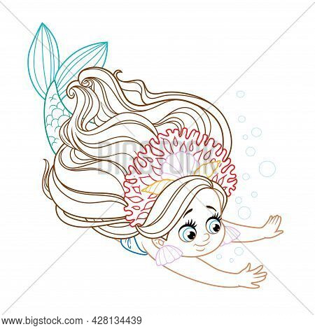 Cute Little Mermaid Girl In Coral Tiara Dives Colored Outlined For Coloring Page On A White Backgrou