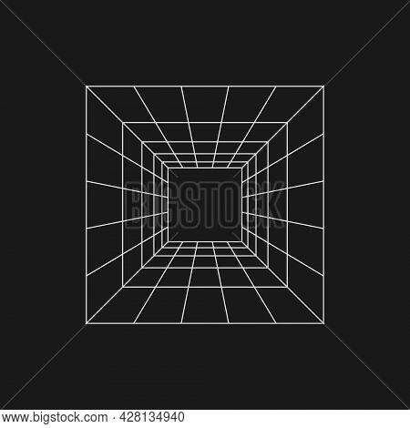 Retrofuturistic Perspective Grid Tunnel. Digital Cyber Retro Design Element. Perspective Tunnel In C