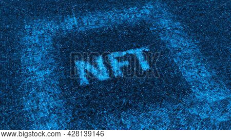 Nft Label. Animation. Nft Label Is Formed From Electronic Particles Falling On Luminous Field. Futur