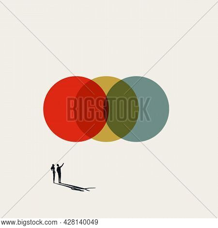 Business Synergy And Teamwork Abstract Vector Concept. Symbol Of Success, Cooperation. Minimal Illus