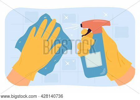 Hands In Gloves Cleaning Tile Wall Using Washcloth And Spray. Surface Cleaning Flat Vector Illustrat