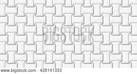 White Cement Brick Tiles Wall Texture Abstract Background Vector Illustration