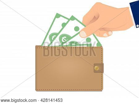 Hand Picking Up Bank Notes From Wallet Vector Illustration