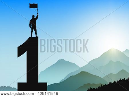 Silhouette Of Men Standing On Top Of Number One With Cheerful On Sunrise Background, Success, Achiev