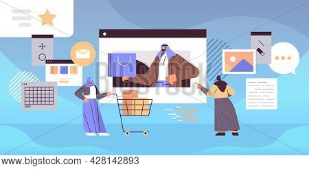 Arabic People Using Online Shopping Application Arab Men Women Buying And Ordering Products Horizont