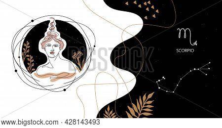 Zodiac Background. Constellation Scorpio. The Element Of Water.