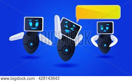 Cute Robots Discussing During Meeting Chat Bubble Communication Artificial Intelligence Technology C
