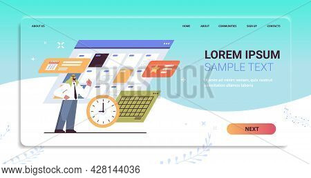 Arab Businessman Planning Day Scheduling Appointment In Online Calendar App Agenda Meeting Plan Time