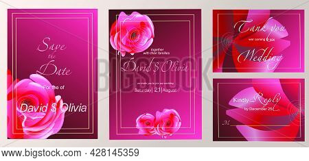 Wedding Invitation Template With Floral Decoration. Botanical Illustration With Exquisite Roses And