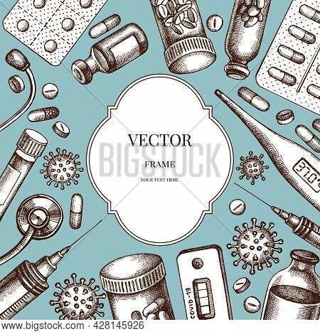 Badge Over Design With Vial Of Blood, Pills And Medicines, Medical Thermometer, Coronavirus Rapid Te