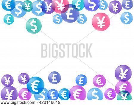Euro Dollar Pound Yen Circle Icons Flying Currency Vector Design. Commerce Pattern. Currency Icons