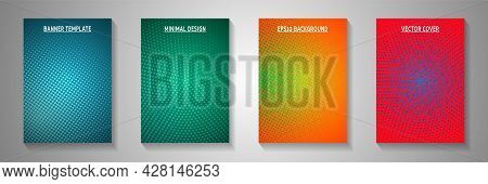 Flat Dot Perforated Halftone Cover Templates Vector Collection. Medical Poster Faded Halftone