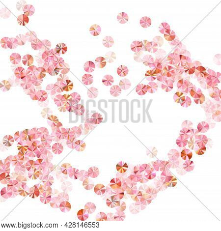 Rose Gold Spangles Confetti Scatter Vector Composition. Valentine's Day Background Design. Metallic