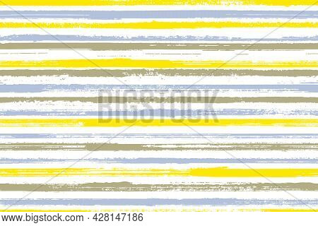 Ink Brush Stroke Rough Stripes Vector Seamless Pattern. Classic Decorative Wallpaper Design. Retro