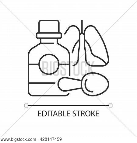 Cough Syrup Linear Icon. Cold Medicine. Soothing Irritated Throat. Coughing Suppressant. Thin Line C