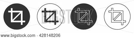 Black Picture Crop Photo Icon Isolated On White Background. Circle Button. Vector