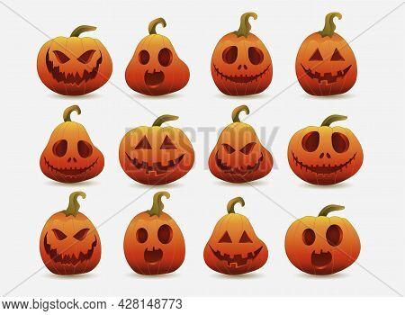 Set Of Halloween Pumpkins, Funny Faces. Autumn Holidays. Jack-o-lantern Facial Expressions.