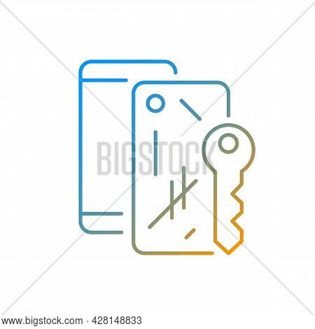 Scratched Housing Gradient Linear Vector Icon. Damaged Mobile Phone Case. Defective Device. Removing