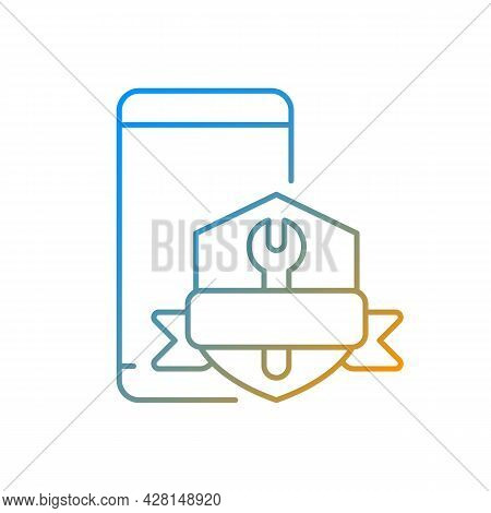 Phone Repair Warranty Gradient Linear Vector Icon. Broken Phone Replacement And Renovate Insurance.
