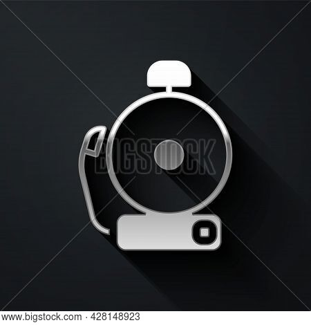 Silver Ringing Alarm Bell Icon Isolated On Black Background. Alarm Symbol, Service Bell, Handbell Si