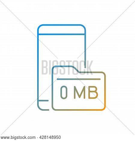 Full Storage Space Gradient Linear Vector Icon. Smartphone And Memory Card. Zero Megabytes Left Noti
