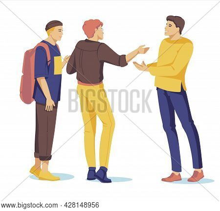 Men Take Part In A Business Meeting, Formal Discussion, Conference. Male Cartoon Characters Talk To