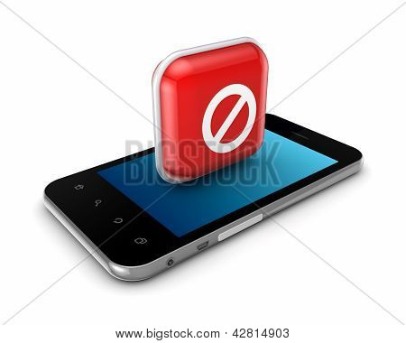 Mobile phone with icon of ban.