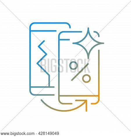 Old Phone Replacement Gradient Linear Vector Icon. Old Malfunction Device Return. Mobile Phone Excha