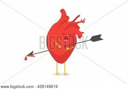 Cute Cartoon Heart Character Pierced Being Shot By Arrow Emoji Sad Emotion. Vector Circulatory Organ