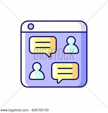 Social Discussion Platforms Rgb Color Icon. Posting Messages And Questions On Website. Chat Rooms. O