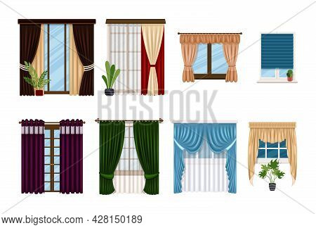 Window And Curtains, Blind Drapes And Shutters, Vector Flat Interior Of Home Room. Curtains And Lamb