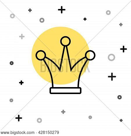 Black Line Joker Playing Card Icon Isolated On White Background. Jester Hat With Bells. Casino Gambl