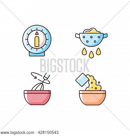 Food Preparation Rgb Color Icons Set. Kitchen Timer. Drain Excess Water Or Oil. Stir With Whisk. Coo