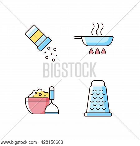Home Cooking Rgb Color Icons Set. Sprinkle Salt. Frying Pan. Mash Potato. Grate For Cutting. Meal In