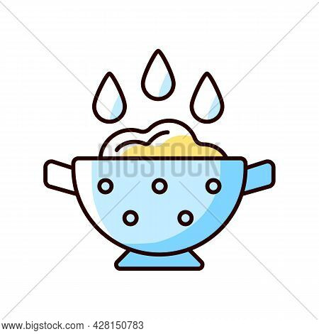 Rinse Cooking Ingredient Rgb Color Icon. Wash Rice On Bowl With Holes. Soaking Product As Cooking In