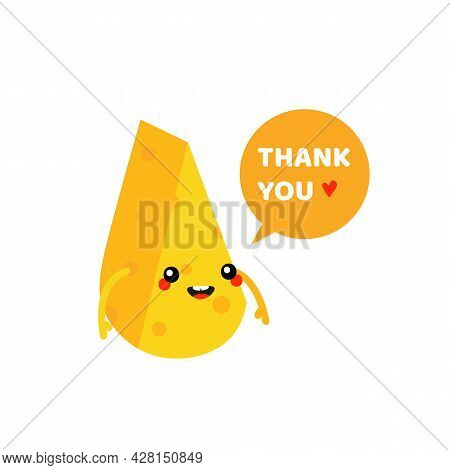 Cute Smiling Cartoon Style Cheese Chunk, Dairy Product Character With Speech Bubble Saying Thank You
