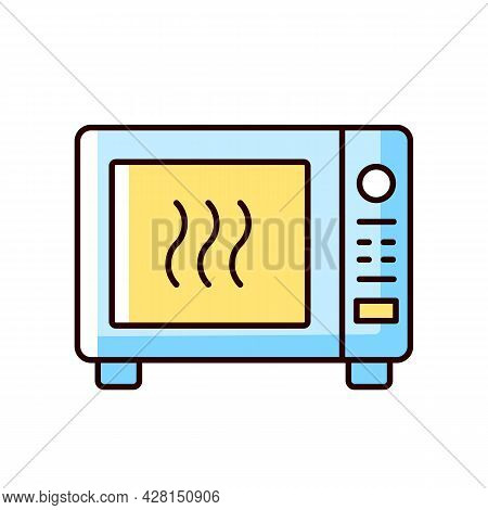 Microwave Rgb Color Icon. Oven To Heat Ready Made Meals. Roasting Dinner In Stove. Cooking Instructi