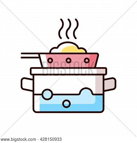 Steam For Cooking Rgb Color Icon. Boil Water In Pot To Cook Meal On Pan. Dinner Recipe. Cooking Inst