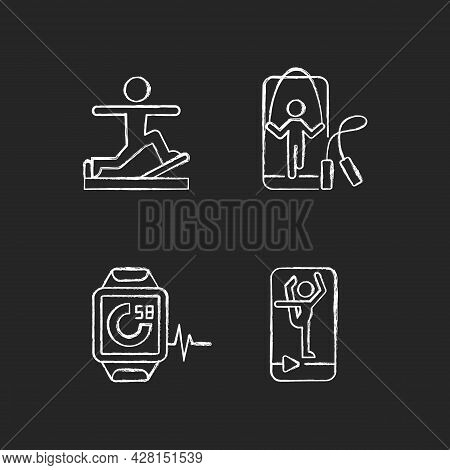 Online Fitness Gymnastic Trends Chalk White Icons Set On Dark Background. Pilates, Stretching And Ju