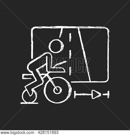 Virtual Cycling App Chalk White Icon On Dark Background. Online Fitness Rally Sport. Racing Competit