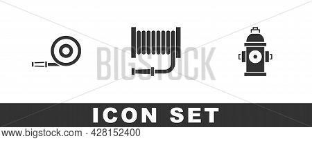 Set Fire Hose Reel, And Hydrant Icon. Vector
